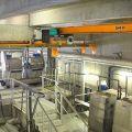 Pont roulant posé pour manutention en salle de station d'épuration (STEP)