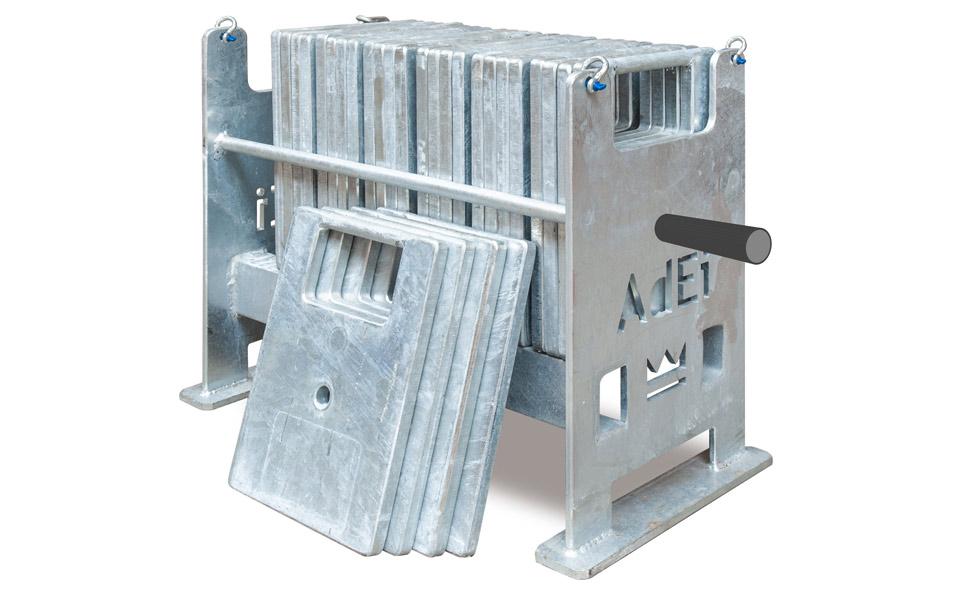 Charge d'essai avec panier et gueuses métalliques pour le test en charge et le contrôle périodique des appareils et accessoires de levage