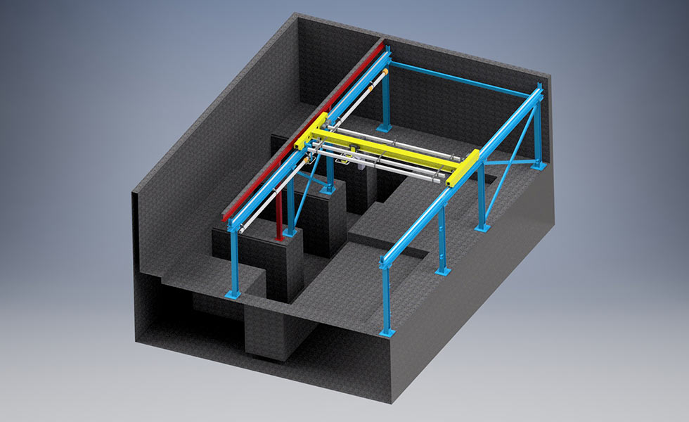 Plan de conception d'un pont roulant posé sur structure