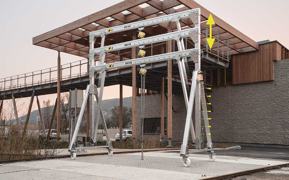Portique aluminium mobile, démontable et transportable de 250 kg à 2 T