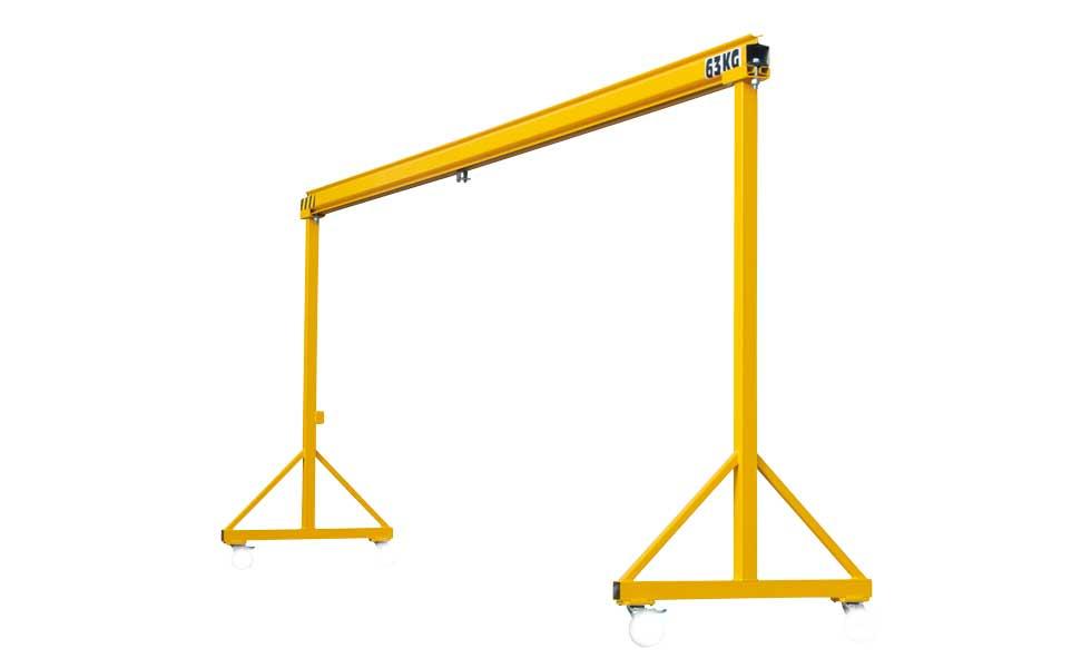 Workshop handling steel gantry crane for manual or electric hoist