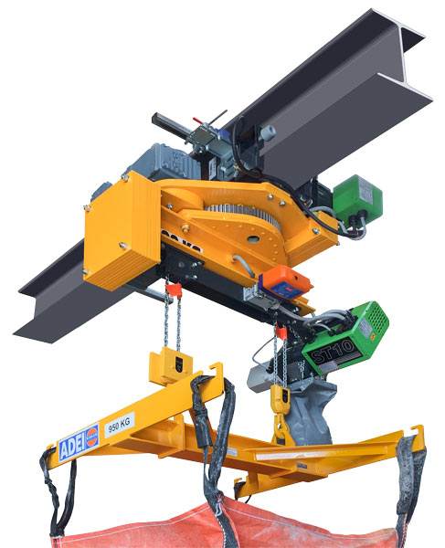 Rotating hoist trolley system for a safe swiveling load operation.