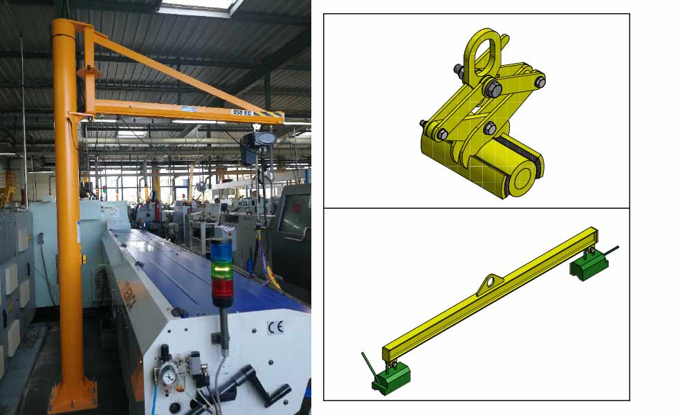 Special clamp and magnetic spreader beam