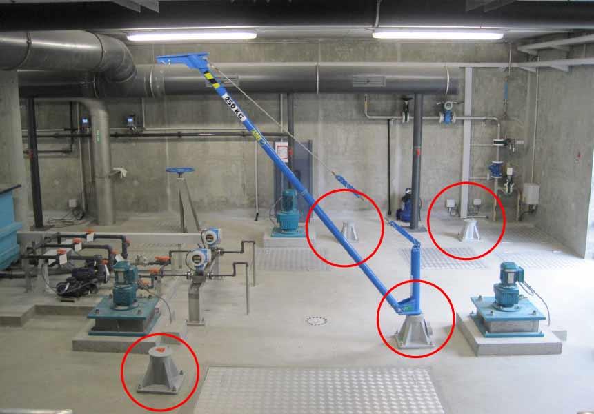 Potence aluminium LEVO installée dans une station d'épuration